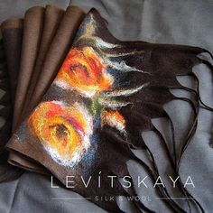 Red Orange Brown Hand Felted Designer Floral Scarf Large Warm