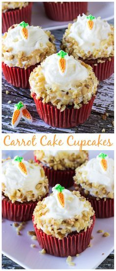 Quick and easy homemade carrot cake cupcakes topped with fluffy cream cheese frosting!