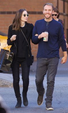 Rooney Mara walks with boyfriend Charlie McDowell on Tuesday in New York.