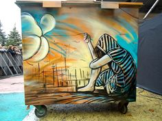 Rome-based artist Alice Pasquini is the talented woman behind these beautiful pieces of street art. Her work is usually carried out in colour spray paint and acrylics.