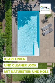 Moderner Pool mit kleiner Einstiegstreppe - clean, minimalistisch, zeitlos I @giffel.gmbh_garten.pool I #pool #poolbau #minimal #clean #modern #garten #landschaftsbau #gartenbau #giffel #giffelgmbh Moderne Pools, Exterior Design, Garden Landscaping, Landscape, Outdoor Decor, Home Decor, Horticulture, Natural Stones, Backyard Landscaping