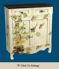 """atlantis cabinet"" - and aquarium next to my bed!  grand!"