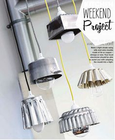 interesting use of thrifted cake or jelly molds as hanging lampshades. thinking about something like this to update the old light fixture in my apartment.