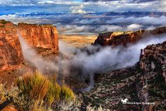 Wonderful blessings from above! Yesterday was a beautiful foggy day up atop the Colorado National Monument. I love winter and one reason is it gives us these foggy days! The left side reminds me of a huge waterfall the way the fog was coming in between the cliffs. GRAND JUNCTION, COLORADO THANKS