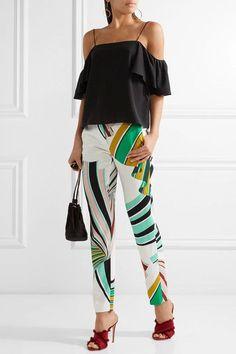 Emilio Pucci - Printed Stretch-twill Skinny Pants - Green - IT44