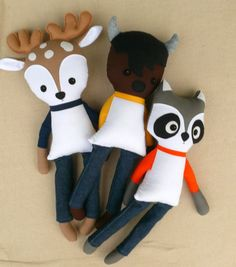 Reserved for Lindsay - Three Boy Fabric Dolls, a Buffalo, a Raccoon, and a Deer…