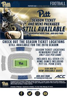 Pitt - Season Ticket & Mini Packages - Still Available - Designed by Pitt Panthers Mail