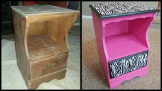 Pink black and white zebra nightstand / end table.