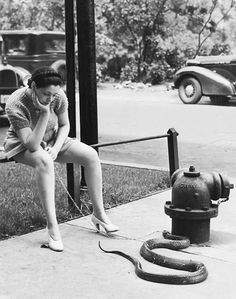 Burlesque dancer, Zorita walking her pet snake, 1937 - Unknown Photographer Vintage Pictures, Old Pictures, Old Photos, Burlesque, Serpent Animal, Foto Portrait, Pet Snake, Foto Blog, Photo Vintage