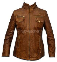 cognac leather jacket, women leather jacket , ladies leather jacket, designer jacket. $149.00, via Etsy.