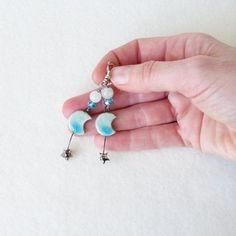 Moon Earrings Moonstone Earrings Star Earrings Teenage Girl