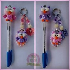 Pin by Suryani Yusoff on Polymer clay flowers Polymer Clay Pens, Polymer Clay Animals, Polymer Clay Flowers, Polymer Clay Projects, Diy Clay, Foam Crafts, Diy And Crafts, Arts And Crafts, Clay Keychain