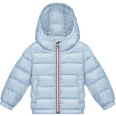 Moncler Dominic Hooded Lightweight Down Puffer Coat ($295) ❤ liked on Polyvore featuring outerwear, coats, light blue, comic book, quilted coat, hooded quilted coat, lightweight puffer coat and moncler coats