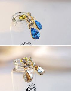 Transparent Teardrop-shaped Swarovski Crystal Earrings