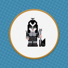 Picture of Gene Simmons from Kiss - Cross Stitch PDF Pattern