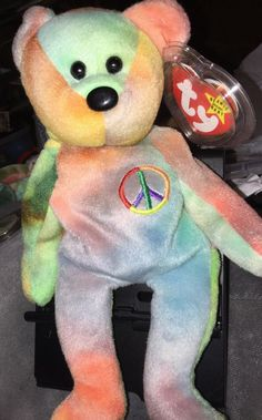 52d00987ef0 Ty Beanie Baby Peace the Tie Dye Bear 1996 - With Tag Protector- Retired  Rare