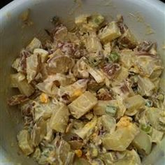 Curried Potato Salad Recipe Side Dishes, Salads with red potato, eggs, mayonaise, sour cream, apples, purple onion, pickle relish, celery, green onions, curry powder, pepper, salt