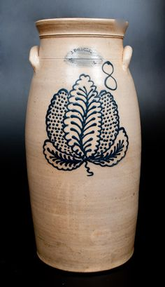8 Gal. J. BURGER / ROCHESTER, N.Y. Stoneware Churn with Slip-Trailed Leaf Decoration -- Lot 354 -- October 17, 2015 Stoneware Auction -- Crocker Farm, Inc.