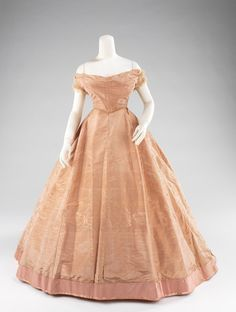 Dress, Evening option 2  Date: ca. 1865  Culture: American  Medium: silk, mother-of-pearl