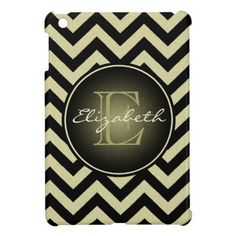 Personalized Girly Sparkly Yellow Gold Toned Chevr Case For The iPad Mini