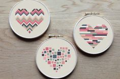 3 geometric modern cross stitch heart patterns, hearts, set of PDF pattern… Cross Stitching, Cross Stitch Embroidery, Embroidery Patterns, Geometric Embroidery, Modern Cross Stitch Patterns, Cross Stitch Designs, Modern Patterns, Geometric Heart, Cross Stitch Heart