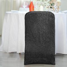 Black Spandex Stretch Folding Chair Cover With Metallic Glittering Back Scary Halloween Decorations, Halloween Party Decor, Thanksgiving Decorations, Parties Decorations, Wedding Decorations, Black Tablecloth, Folding Chair Covers, Chair Sashes