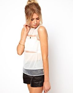 ASOS Shell Top with Sheer Panels and leather shorts. so cute.