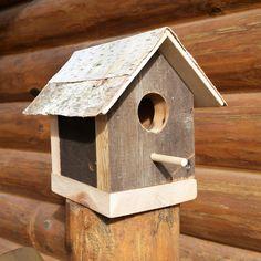Reclaimed Wood Birdhouse, White Birch Birdhouse, Rustic Birdhouse, Cedar Birdhouse, Wooden Birdhouse, Bird House, Reclaimed Wood Bird House by TwoPondsFarm on Etsy