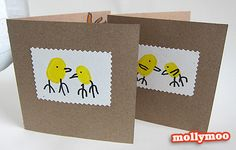 make thumbprint Easter cards—could be used as table setting cards too!