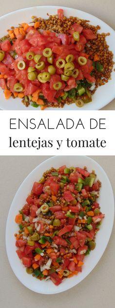 Ensalada de lentejas con tomate y cebolla