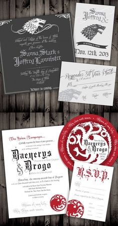 Game of Thrones Wedding Invitations. Genuinely tempted to get married again, purely so I can use these