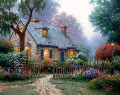 "Are you a Fan of Thomas Kinkade? You'll LOVE the large selection of Thomas Kinkade Cottage Puzzles. These jigsaw puzzles for adults are inspired by the artwork of ""The Painter of Light"" Thomas Kinkade. Belle Image Nature, Thomas Kinkade Art, Kinkade Paintings, Oil Paintings, Thomas Kincaid, Art Thomas, Cozy Cottage, Forest Cottage, Garden Cottage"