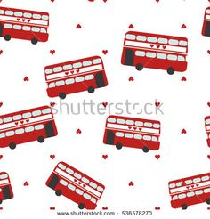 Seamless vector pattern with red bus for sightseeing