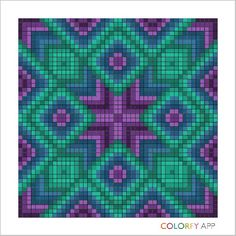 Purple + Green Perler Patterns, Loom Patterns, Quilt Patterns, Crochet Quilt Pattern, Tapestry Crochet, Bargello Quilts, Lap Quilts, Mandala, Cross Stitch Designs