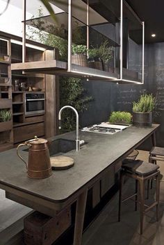 """you must read full article to get the proper inspiration to decorate and design your Industrial Kitchen Design. So Checkout Inspirational Industrial Kitchen Design And Ideas"""" Stylish Kitchen, New Kitchen, Kitchen Dining, Kitchen Decor, Natural Kitchen, Kitchen Island, Rustic Kitchen, Smart Kitchen, Earthy Kitchen"""