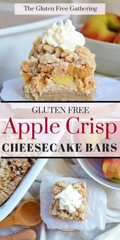 Everything you love about apple crisp and cheesecake rolled into one delicious gluten free dessert! Gluten Free Apple Crisp Cheesecake Bars for the win. Gluten Free Apple Crisp, Apple Crisp Recipes, Apple Recipes Gluten Free, Free Recipes, Apple Crisp Cheesecake, Cheesecake Bars, Cheesecake Recipes, Gluten Free Sweets, Gluten Free Baking