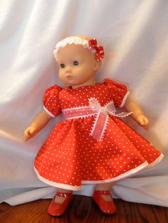 fecef4ea1c red dress fits 15 inch Bitty Baby American girl doll clothes.  16.99