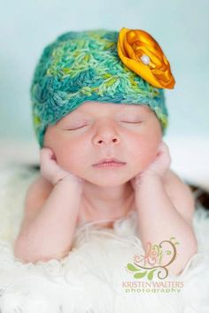Newborn Baby Hat Baby Girl Crochet Flapper by CreativeDragonfly, $25.00