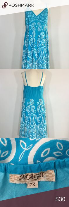 "Magic Sundress Plus Size 2X Blue White Paisley Magic Sundress Plus Size 2X Blue White Paisley  Brand:   Magic Size:   2X Color:  Blue/White Style/Specifics:  Sundress - Elastic Along Back - V-Neck - Adjustable Straps  ALL MEASUREMENTS ARE APPROXIMATE AND TAKEN WITH GARMENT LAYING FLAT AND UNSTRETCHED  Armpit to Armpit 17"" Waist 18"" Hips 27"" Length From Back 36"" Magic Dresses Midi"
