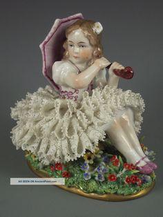 Antique German Sitzendorf Dresden Lace & Flowers Girl With Umbrella Figurine Figurines photo