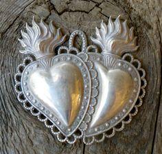 antique sacred heart ex voto