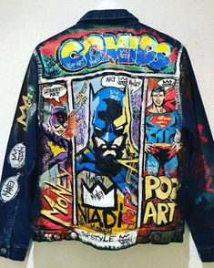 Dec 2019 - Original Fashion Painting by Art Vladi Painted Denim Jacket, Painted Jeans, Painted Clothes, Custom Clothes, Diy Clothes, Pop Art Fashion, Modern Fashion, Luxury Fashion, Ropa Hip Hop