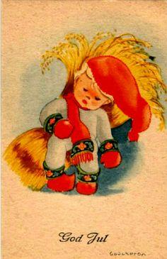 Julekort Anne Eline Coucheron utg Küenholdt,brukt 1945 Christmas Postcards, Christmas Cards, Grinch, Tigger, Norway, Disney Characters, Fictional Characters, Anna, Christmas E Cards