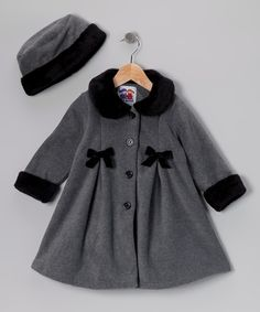 Gray Bow Fleece Coat & Hat