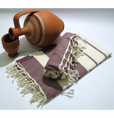 Burgundy Italian Peshtemal by Casa Bella Textiles. 100% cotton Turkish peshtemal.