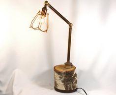 Table Steam Punk Lamp Handmade Birch Wood & Brass Task