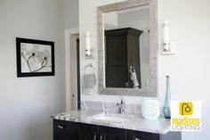 "Let's talk Bathroom re-mod! ""Maltese"" Feiss light at eye level - you're framing your face!"