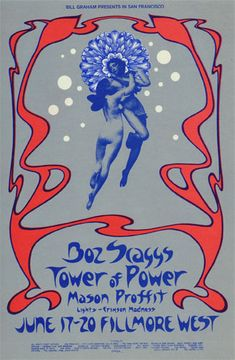 Original Vintage Bill Graham BG # Poster by David Singer for Boz Scaggs, Tower of Power, Mason Proffit at Fillmore West Hippie Posters, Rock Posters, Band Posters, Music Posters, Film Posters, Graphic Design Posters, Graphic Design Illustration, Poster Designs, Fillmore West