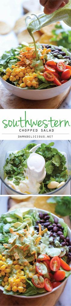 Southwestern Chopped Salad with Cilantro Lime Dressing - A tex-mex style salad with an incredibly creamy Greek yogurt cilantro dressing! Or w trader joes cilantro dressing Cilantro Dressing, Lime Dressing, Clean Eating, Healthy Eating, Comida Latina, Cooking Recipes, Healthy Recipes, Cooking Tips, Easy Recipes