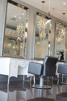 Salon Decor love the mirrors and hanging blow dryers